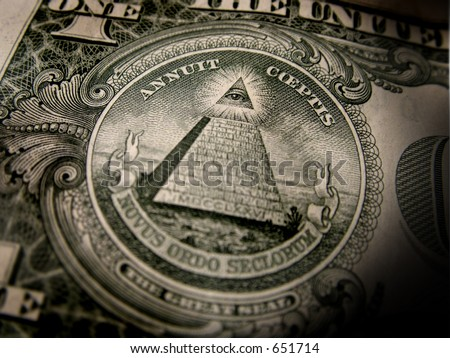 Close up of the seal on the back of a one dollar bill. - stock photo