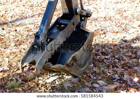 Close up of the shovel bucket of a backhoe excavator.
