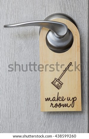 close up of the sign on door handle - stock photo