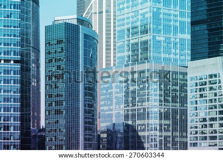 Close up of the skyscrapers of the International Business Centre in Moscow, Russia. Moscow-City business district. - stock photo