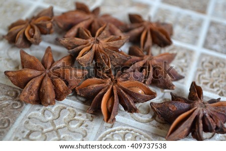 Close up of the star anise .  - stock photo