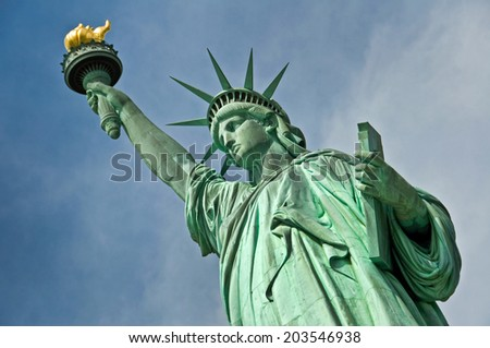 Close up of the statue of liberty, New York City, USA - stock photo