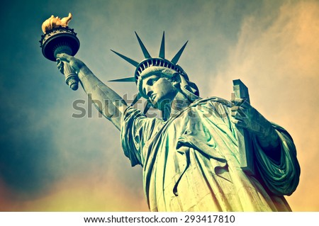 Close up of the statue of liberty, New York City, vintage process - stock photo
