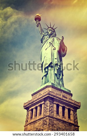 Close up of the statue of liberty with its pedestal, New York City, vintage process - stock photo