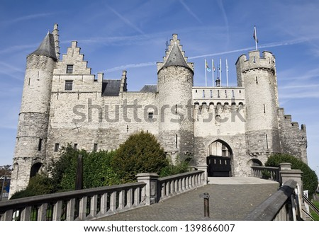Close-up of the Steen castle in Antwerp, Belgium