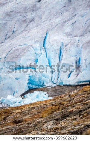 Close up of the Svartisen glacier in Norway - stock photo