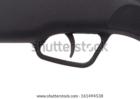 Close-up of the trigger of a rifle, isolated on white - stock photo
