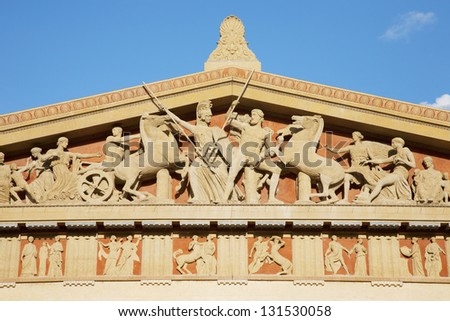 Close-up of the tympanum of the Parthenon at Centennial park in Nashville, Tennessee - stock photo