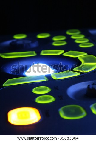 close-up of the ultrasound machines control panel - stock photo