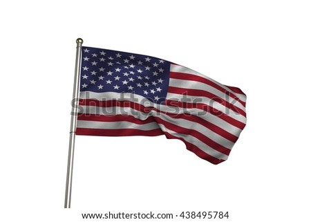 Close up of the us flag against white background