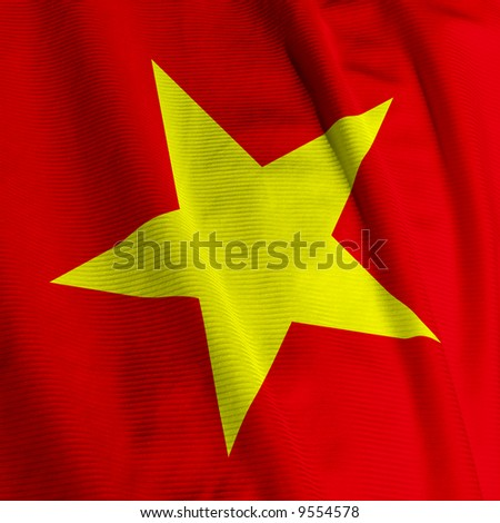 Close up of the Vietnamese flag, square image - stock photo