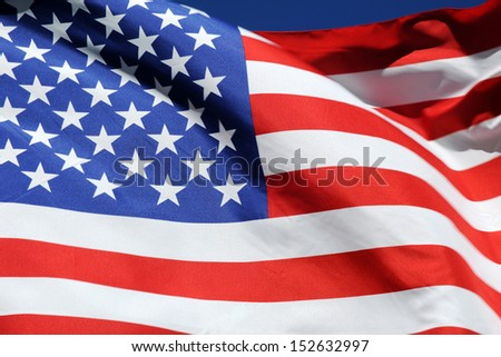 Close-up of the waving flag of the United States of America, symbol of freedom