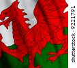 Close up of the Welsh flag, square image - stock photo