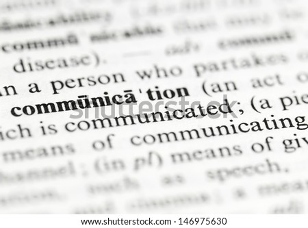 Close up of the word 'communication' and its definition in the dictionary - stock photo