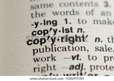 Close-up of The Word Copyright in a Dictionary - stock photo