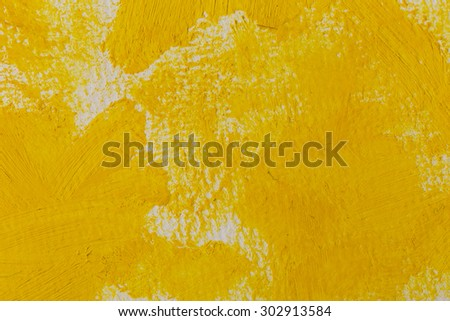 Close up of the yellow paint strokes texture