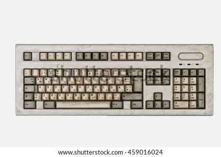 Close up of thel Keyboard isolated white background