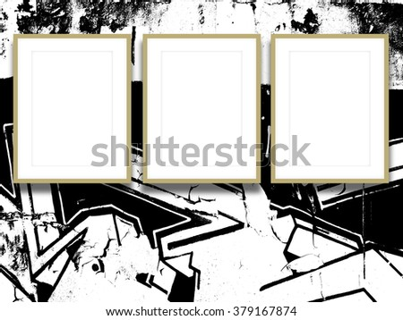 Close-up of three brown picture frames on black and white splotchy ink background