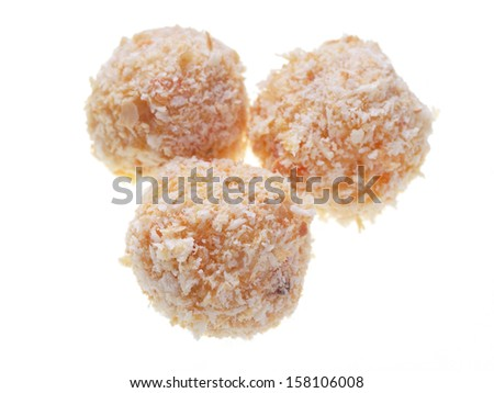 Close up of three homemade korokke isolated on white background. - stock photo