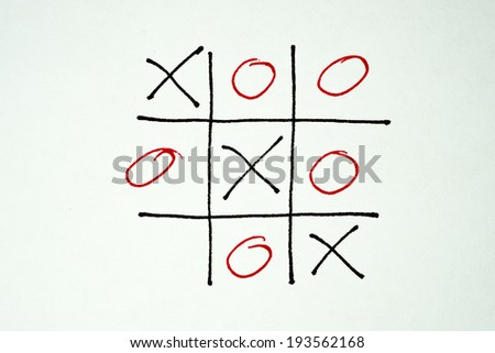 close up of tic tac toe XO game  - stock photo