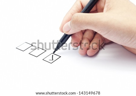 close up of tick on bottom of check list box - stock photo