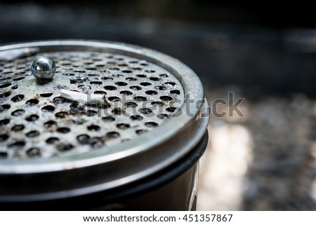 Close-up of Tobacco Cigarettes in ashtray,unhealthy, for campiaign