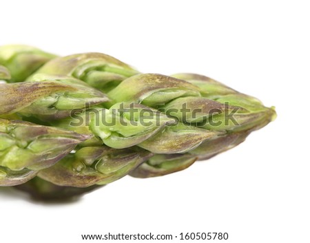 Close-up of top asparagus. Isolated on a white background. - stock photo