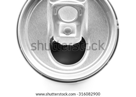 close- up of top view Aluminum used can recycle isolated on white background