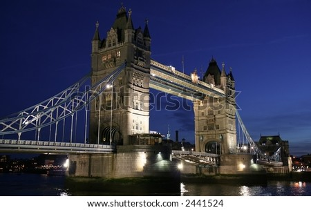 Close up of Tower Bridge at twilight - stock photo