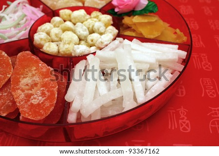 Close up of Traditional Chinese New Year candy box - stock photo
