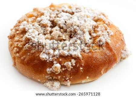 close up of traditional Czech curd pie on white background - stock photo