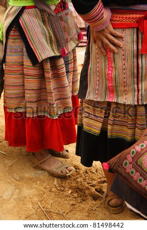 Close up of traditional dress worn by flower Hmong tribe women in Bac Ha in Northern Vietnam South East Asia