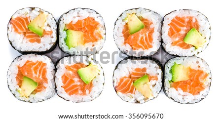 close-up of traditional fresh japanese seafood sushi rolls on a white background