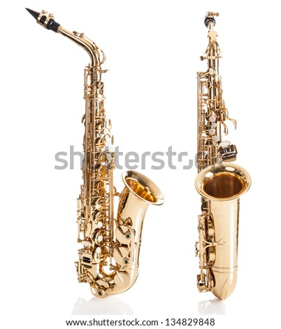 Close-up Of Trumpet Isolated Over White Background - stock photo