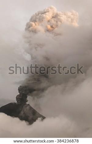 Close-Up Of Tungurahua Volcano Powerful Sunset Explosion, February 2016, South America  - stock photo