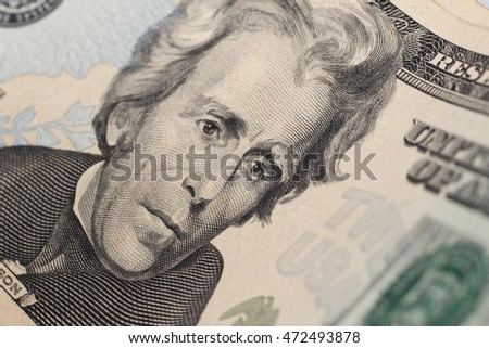 Close-up of twenty dollars banknote. Small DOF