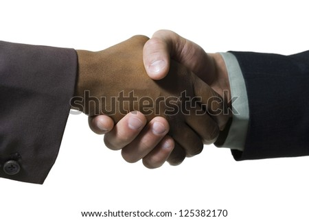 Close-up of two businessmen shaking hand - stock photo