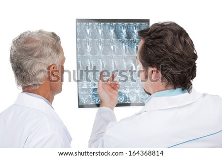 Close up of two doctors discussing diagnose of the patient. Back view, isolated on white background