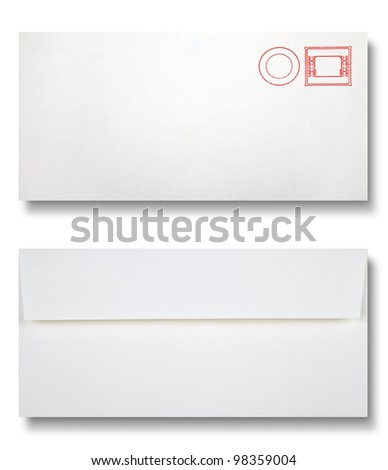 Close-up of two envelopes on white - stock photo