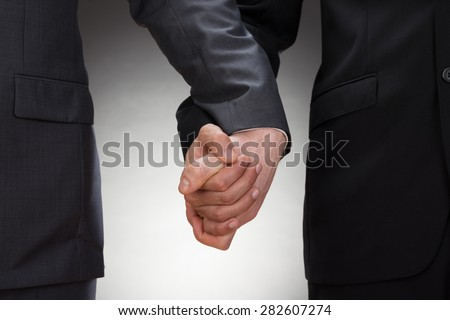 Close-up Of Two Gay Men Holding Hands - stock photo