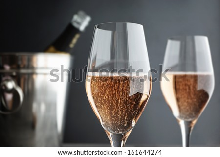 Close-up of two Glasses Rose, Pink Champagne, selective focus - stock photo
