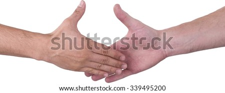 Close Up of Two Hands before Handshake - Isolated