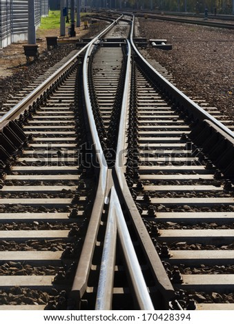 Close up of two iron lines of railway  track