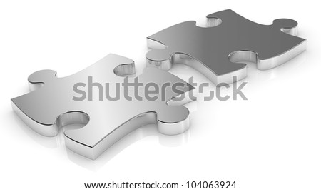 close up of two  puzzle pieces made of steel (3d render) - stock photo