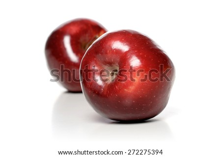 Close up of two red apples - stock photo