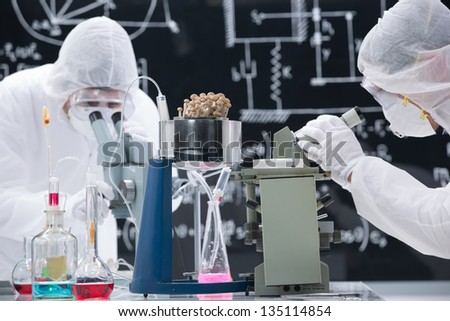 close-up of two scientists in a chemistry lab analyzing colorful substances and mushrooms with a blackboard on the background - stock photo