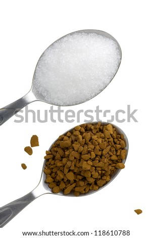 Close up of two teaspoons with instant coffee and sugar isolated on white background. - stock photo
