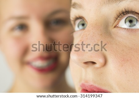 Close up of Two Young Girls Faces