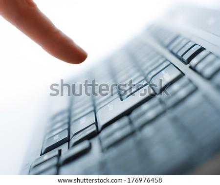 Close-up of typing male hands on keyboard