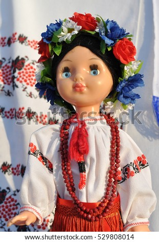 close-up of ukrainian female doll in  ukrainian clothes
